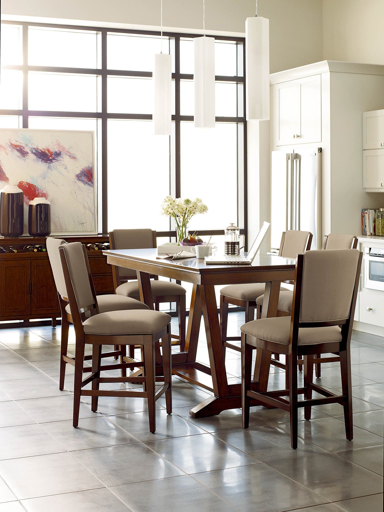 Chattanooga Kitchen Table Ideas Kincaid Spectrum table with Amaretto finish from EF Brannon Furniture store in Chattanooga TN