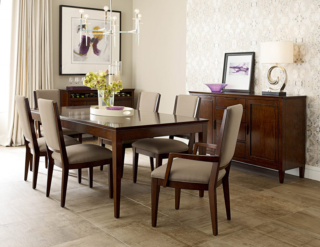Update your dining room space with this sleek and modern dining room table and chairs set from the Kincaid Elise collection.