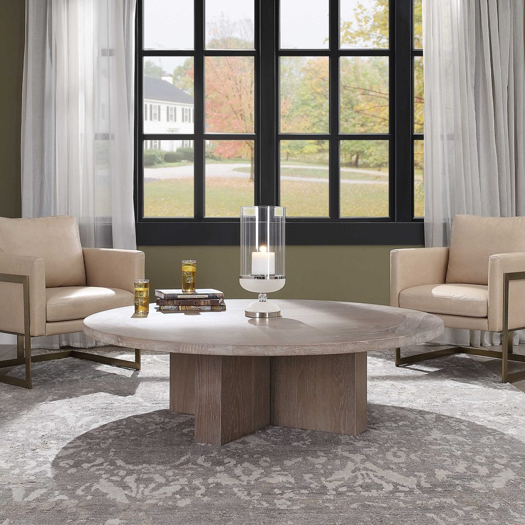 Add style to any Chattanooga living room with an Uttermost coffee table like this one with blocky wood pieces for a simple, yet bold look.