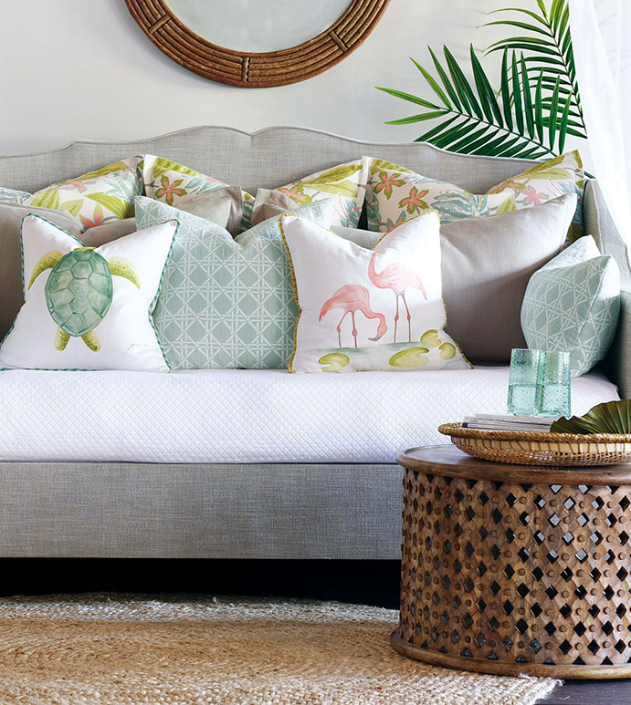Add a splash of summer to your Chattanooga interior design efforts with tropical prints and pops of color with items like these Eastern Accents throw pillows.