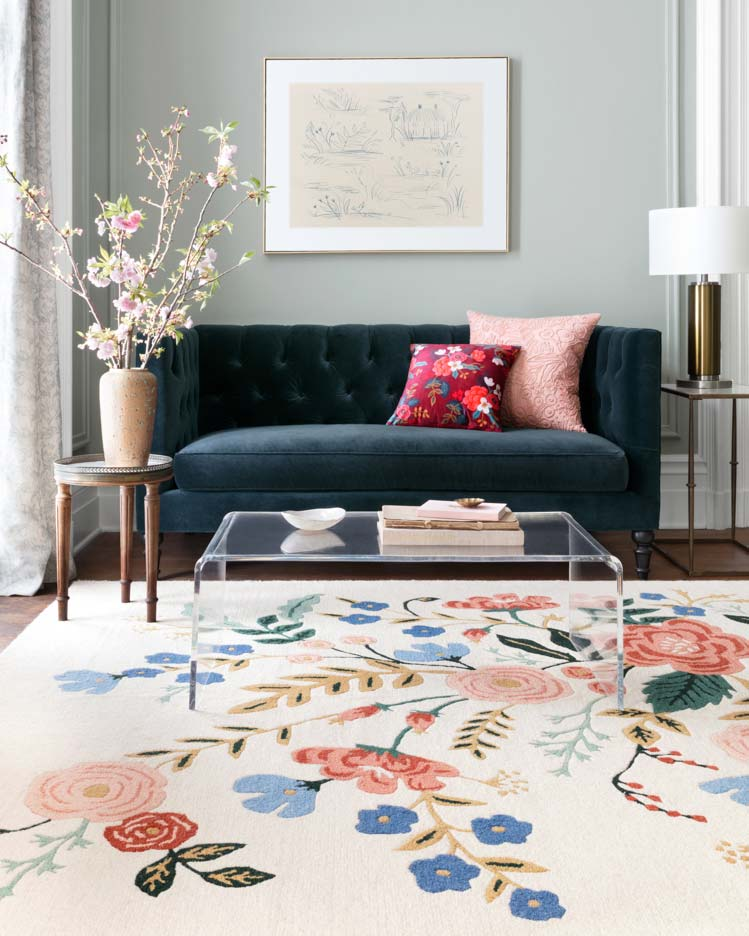 Add floral and feminine touches with your Chattanooga interior design, to elevate the space to summer status. Try pieces like this floral rug by Loloi!